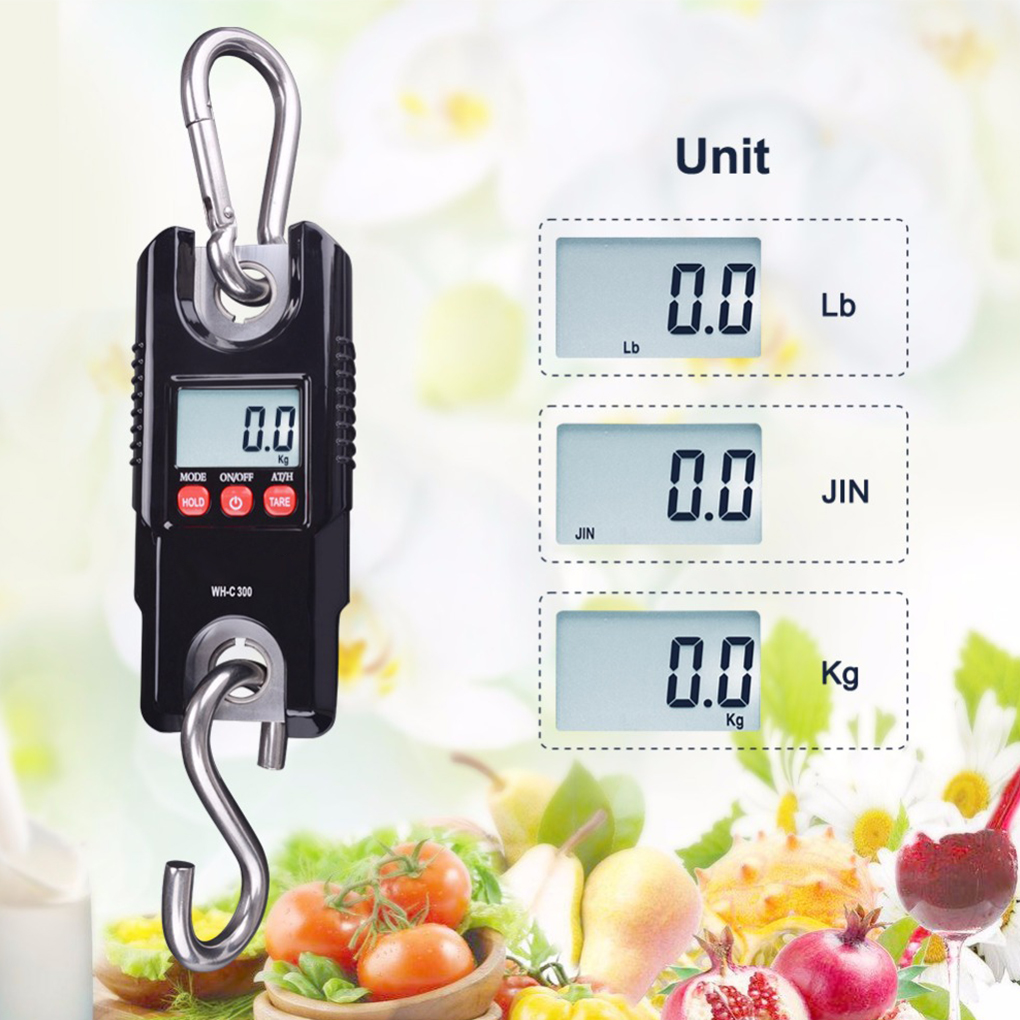 300kg/0.1kg Digital Hanging Scale Stainless Steel Hook Electronic Crane Scale Luggage Balance Weighing Tool thick stainless steel fish scale planer tool device