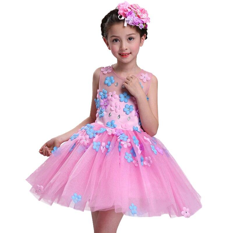 все цены на  2017 Kids Girls Flower Dress Children Girl Sleeveless Birthday Party Butterfly Dress Baby Fancy Princess Baby Girls Clothes  в интернете
