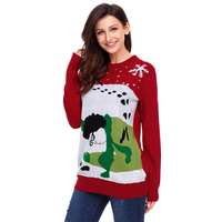 Women Fashion 2018 Ugly Christmas Sweater Funny Women Jumper Long Sleeve Winter Red Sweaters And Pullovers Knit Pull Femme