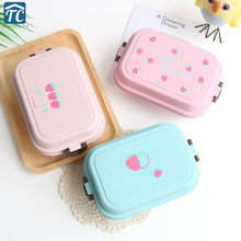 Japanese Wheat Straw Double Lunch Box Simple Cute Student Portable Microwave Food Container Eco-friendly Storage Bento Simple(China)
