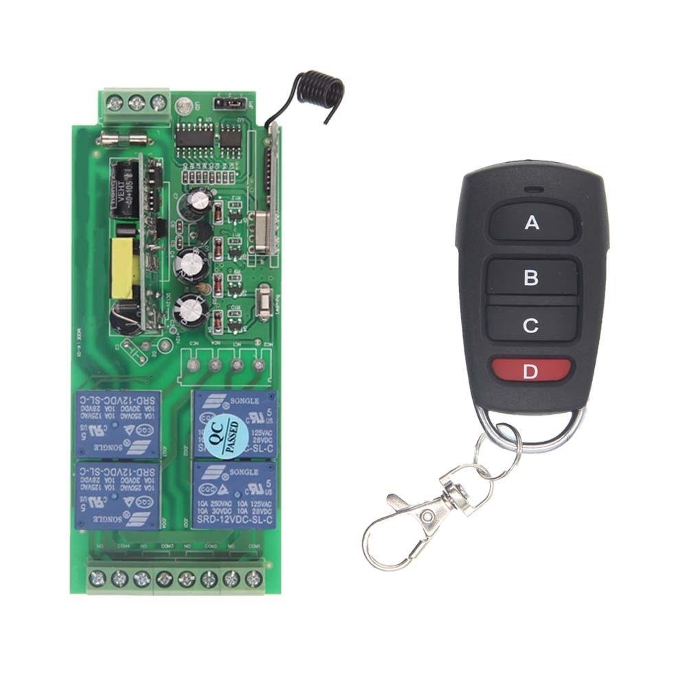 AC85V-265V 110V 220V 230V 4 Channel 4CH RF Wireless Remote Control Switch System Receiver + Transmitter, 315 433.92 MHZ ac 220v 1channel 10a rf wireless remote control switch system 4 receiver