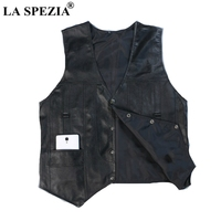 LA SPEZIA Black Sheepskin Vest Men Genuine Leather Vest Man Jacket Sleeveless Waistcoat Male High Quality