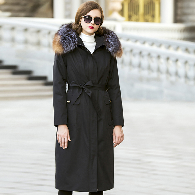 Online Shop Women's Solid Real Rex Rabbit fur lining Fox Fur ...