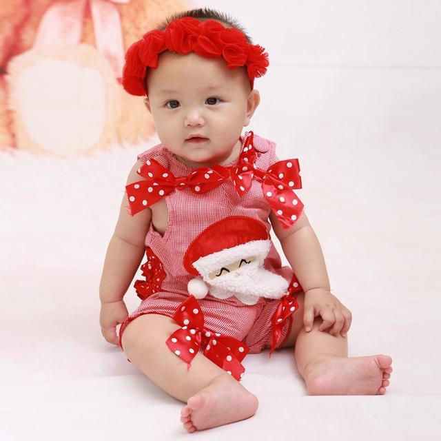 Regalo de navidad santa baby mamelucos del mono rojo recién nacido bebé niñas ropa roupas de bebe