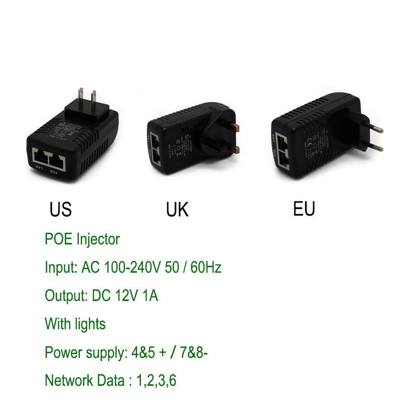 POE Injector AC220V  to DC12V 1A POE Power Over Ethernet Injector  Adapter EU/UK/US Optional 100pcs us eu uk au plug ac line 1 5m dc line 1 2m ac100 240v to dc 24v 1a 24w power adapter 24v1a ac adapter