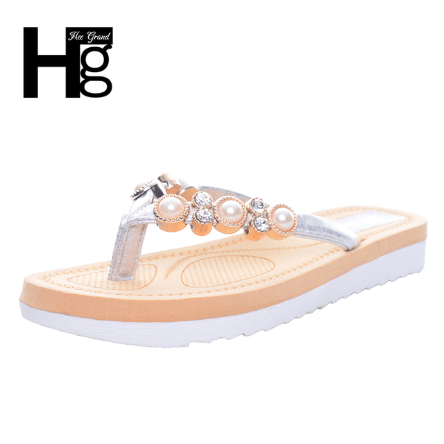 92bc98b81 HEE GRAND Bling Bling Crystal Women s Flip Flops Cute Korean Style Beading  Flat Platform Slippers Woman XWT699