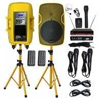 STARAUDIO Pair 3500W 15 PA Speakers Powered DJ Speaker Stands Wired Mic 2CH VHF Wireless Handheld Headset Microphone SSYM 15