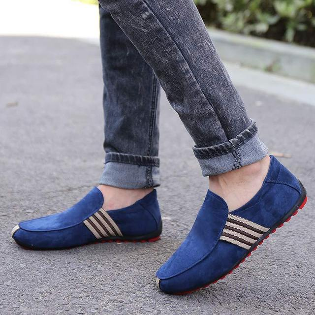 2018 Man Shoes Walking Ventilation Casual Male Men sapato masculino Red Bottom Canvas Slip Driving Moccasin Loafers Flat Shoes 4