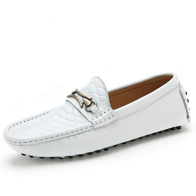 804bd65e315 Loafers Mens Casual Shoes Luxury Men s Genuine Leather Driving Shoes White  Loafers Man Slip On Moccasins Free Shipping 8899W