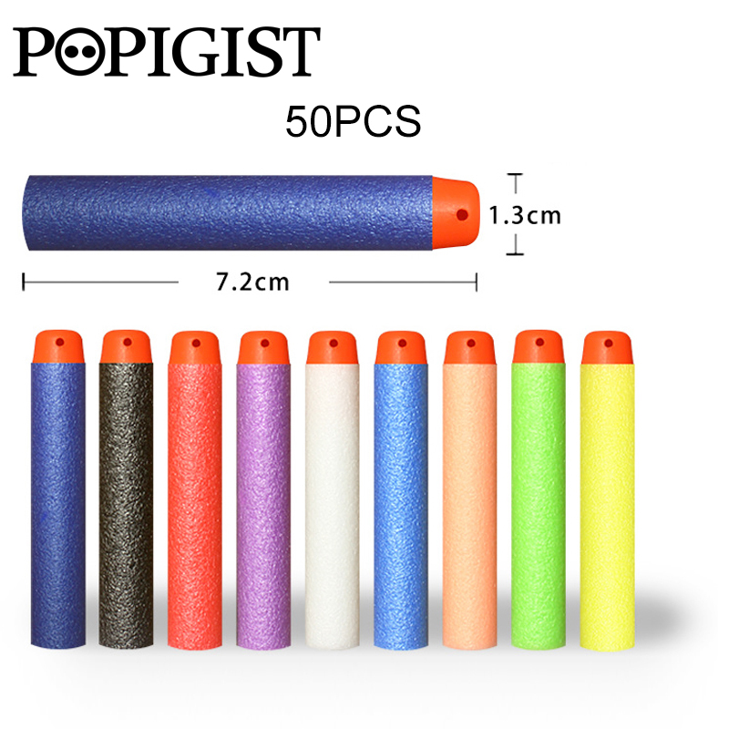 50PCs Soft Hollow Hole Head 7.2cm Refill Dart Toy Gun Bullets for Nerf Series Blasters Kid Shooting game Children Gift toy