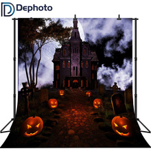 Dephoto Seamless Vinyl Halloween Pumpkin Shape Street Light Gloomy Castle Backgrounds For Photo Studio Photography Backdrops