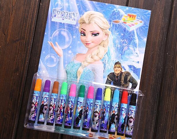 new retail 1set 12colors/set pen/ kids frozen Coloring Notebook ...