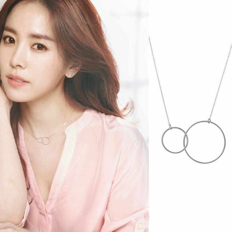 New Hot Double Circle Elegant Statement Necklace For Women Clavicular Chain 925 Sterling Silver Jewelry Collier Femme SAN5