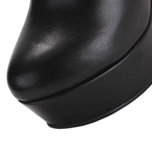 Image 5 - MORAZORA 2020 hot sale genuine leather boots round toe spring autumn ankle boots women platform fashion wedges high heels shoes