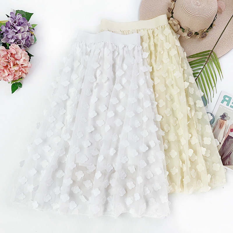 AcFirst Spring Khaki Black Women Skirts Fashion High Waist Pleated Mid-Calf Skirt All-match Chiffon Clothing Appliques