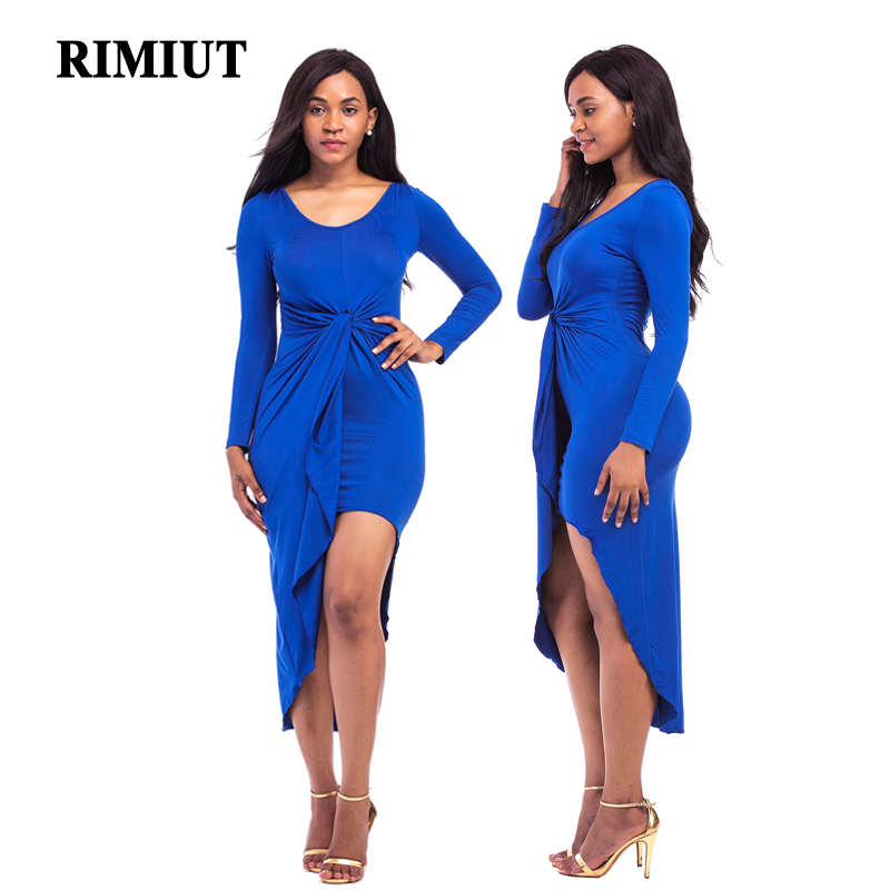 RMIUT 2017 New Arrival Sexy Party Girl Dress Solid Asymmetrical Casual Long Sleeve Fat MM Big Size Women Dresses Vestidos Cloth