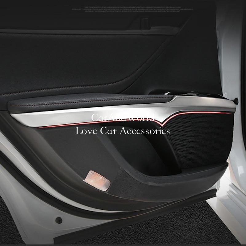 Acier inoxydable voiture intérieur porte accoudoir panneau bol couverture corps garniture bande pour Toyota Camry XV70 2018 2019 Auto moulage accessoires - 3