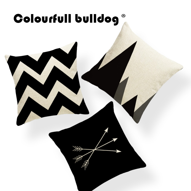Fashion Scandinavian Diamond Geometry Cushion Covers Black ...