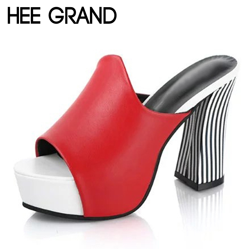 HEE GRAND Sexy Gladiator Sandals 2017 Platform High Heels Peep Toe Shoes Woman Summer Casual Pumps Fashion Mules XWZ4176 hee grand casual wedges sandals 2017 summer beach women shoes platform buckle comfort creepers fashion shoes woman xwz3812