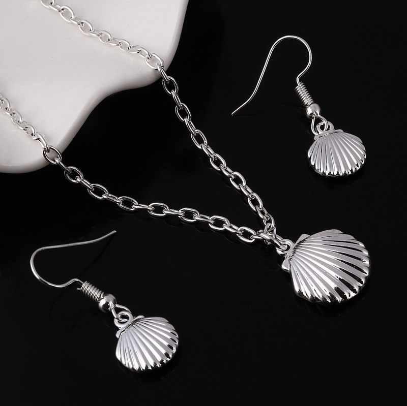 ZOSHI 11.11 Prata Banhado conjunto de Jóias Shell Colar Pingente brinco mulheres sólidos africano indiano jóias 925 hot Atacado