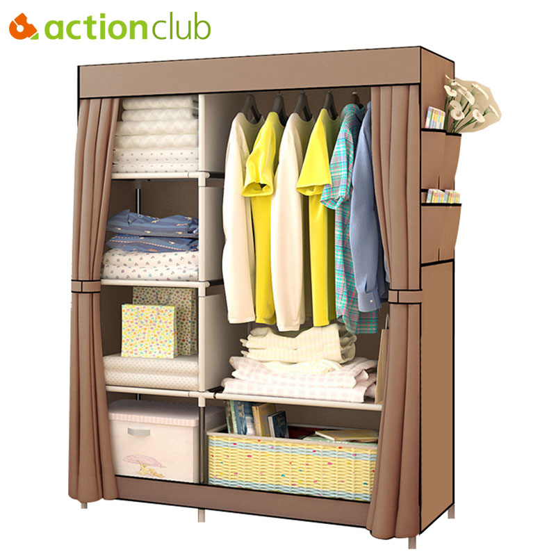 Actionclub Simple Fashion Wardrobe DIY Non-woven Fold Portable Storage Cabinet Multifunction Dustproof Moistureproof Closet slide out fold down ironing iron board closet wardrobe cloakroom concealed