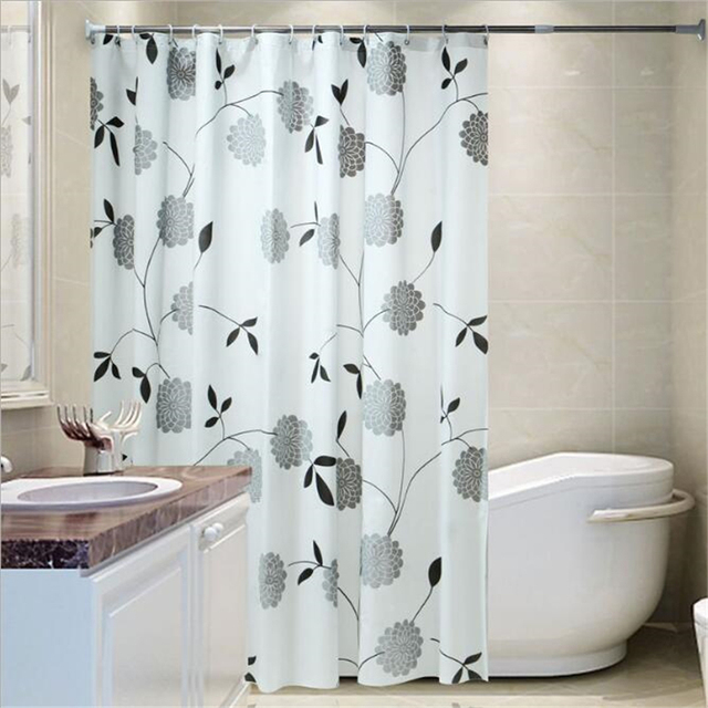 Peva Black Peony Waterproof And Mildew Proof Curtain Shower High Quality Washable Decor Curtains For