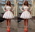Hot Sale A-Line Vestidos De Festa Scoop White Lace Cocktail Dress Long Sleeves Mi-Ni Party Gowns CX030