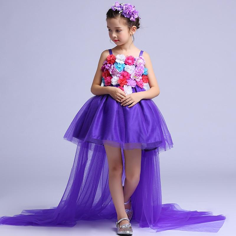 Long Tailed Formal Girls Dress Wedding Long Back Purple