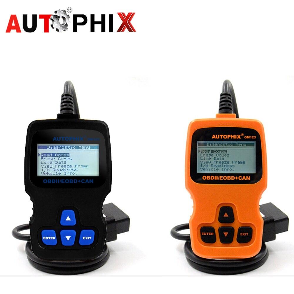 AUTOPHIX om123 код читателя obd2 Двигатели для автомобиля сканер АНАЛИЗАТОР инструмент для диагностики VAG Toyota Audi Honda Chevrolet Mazda Skoda Chevy