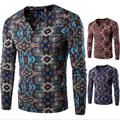 Autumn spring men's t-shirt V-neck long-sleeved flower tee shirts men fashion slim fit printe Ethnic style t shirts Men clothing