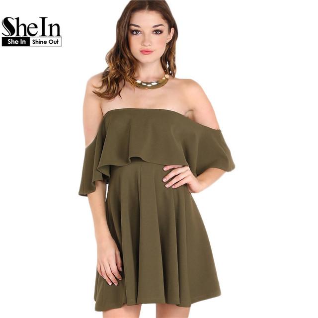 SheIn Autumn Dress Womens Sexy Party Night Club Dress Short Sleeve Women Fall Dresses 2016 Off The Shoulder Skater Dress