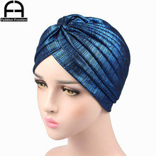 Luxury Fashion Women Shiny Knitted Turban Breathable Mesh Muslim Headband Turbante Hat Hair Accessories