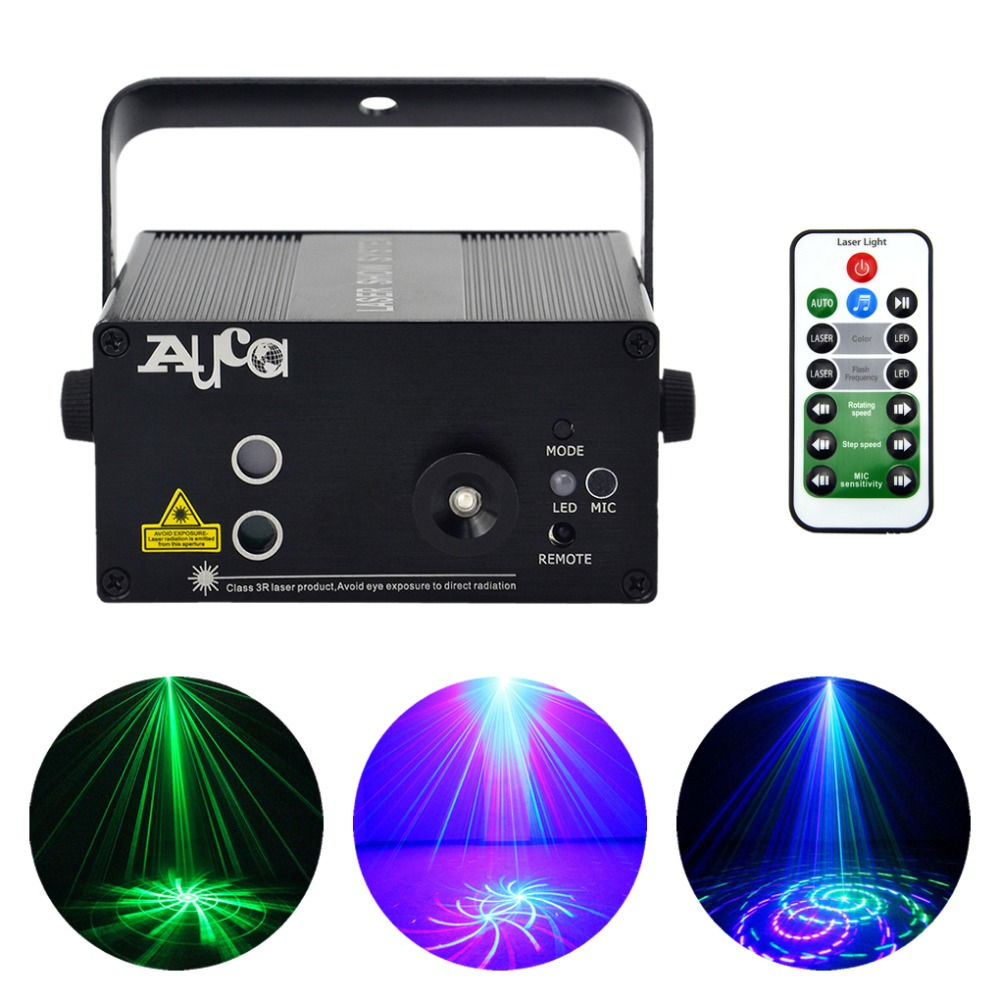 AUCD Mini 12 Green Blue Pattern Laser Projector Light 3W Blue LED Mixing Effect DJ Home Party Holiday Show Stage Lighting L12GB