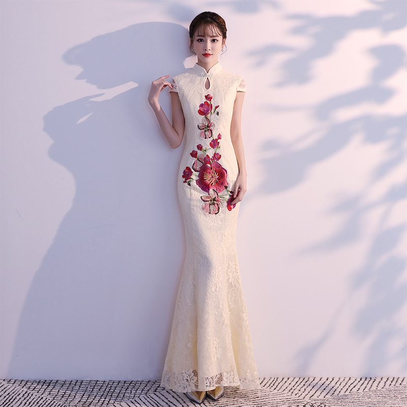 Embroidery Flower Novelty Female Cheongsam Oversize 3XL Vestidso Lace Long Tight Qipao Bride Wedding Party Chineses Dresses