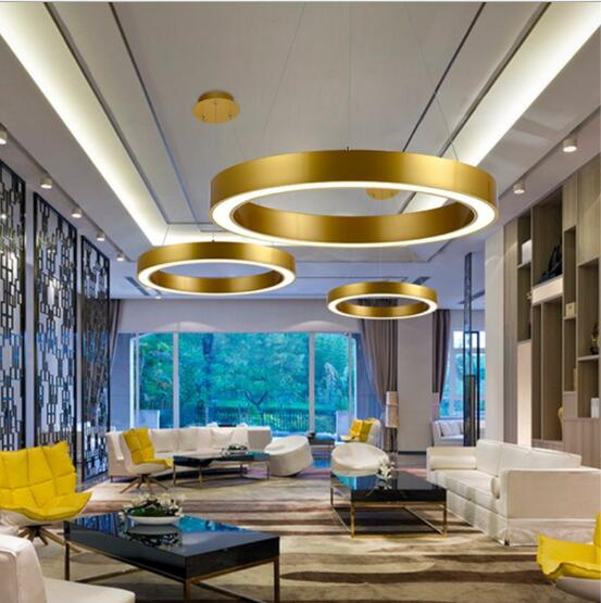 moderne nordique bague en or restaurant led pendentif lumi res cercle suspension luminaire salle. Black Bedroom Furniture Sets. Home Design Ideas