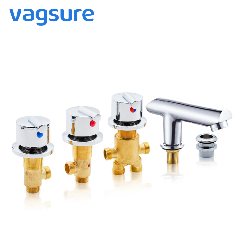 Vagsure 1Set Hot and Cold Water Copper Massage Bathtub Faucet Bathroom Shower Cabin Faucet Mixer Shower Room Mixing Valve Tap