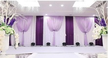 10ft*20ft wedding stage decoration Wedding Backdrop with purple Swag Wedding drape and curtain wedding supplies