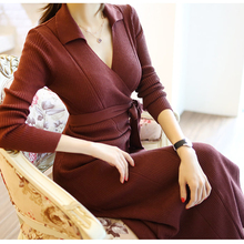 цены HIGH QUALITY Newest Fashion 2019 Spring New Women Bandage Dress Long Sleeve V-Neck High Waist Knitted Dresses Christmas Dress