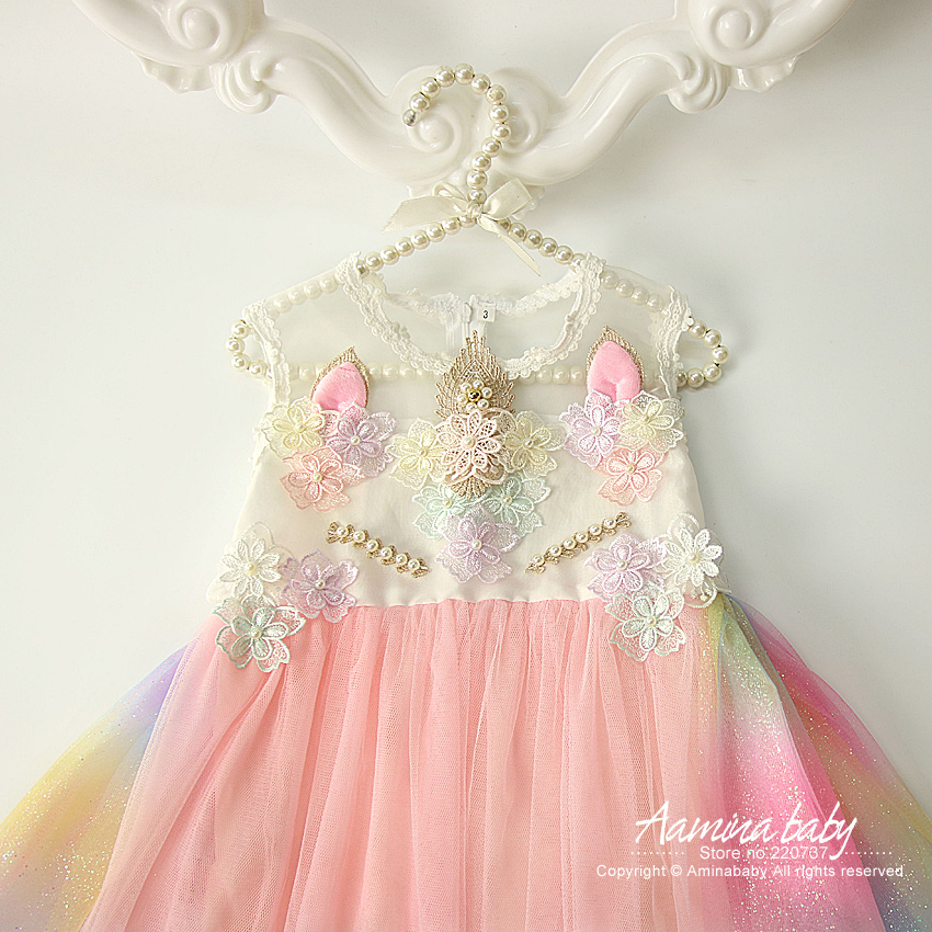 dde5b91a12a3 Colorful Unicorn Brithday Party Baby Girls Dress, Flowers Embroidery Raibow  Mesh Toddler Summer Princess Kids