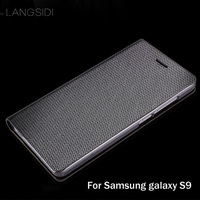 LANGSIDI Brand Genuine Leather Phone Case Diamond Pattern Clamshell Handphone Shell For Samsung Galaxy S9 All