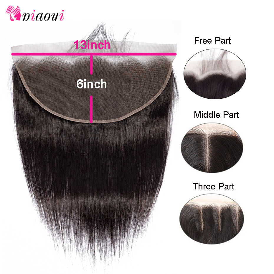 Piaoyi 13x6 Brazilian Straight Frontal Remy Human Hair Ear To Ear Full Lace Frontal Closure Bleached Knots With Baby Hair