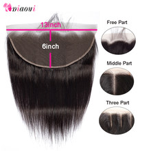 Piaoyi 13x6 Brazilian Straight Frontal Remy Human Hair Ear To Ear Full Lace Frontal Closure Bleached Knots With Baby Hair(China)