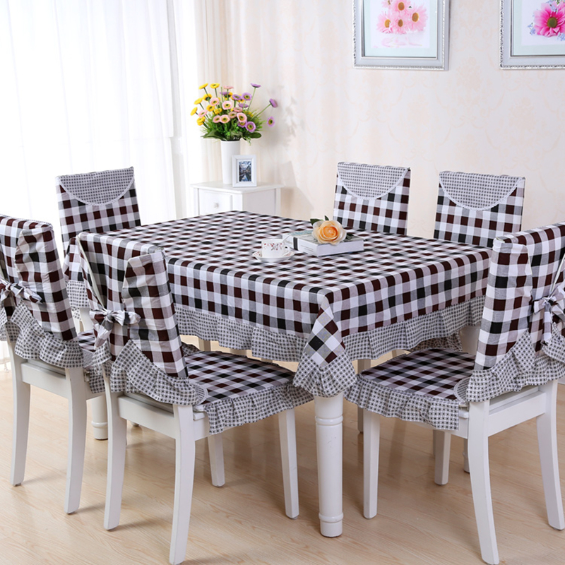 9 Pieces set Tablecloths with Chair Covers Mats Embroidered Tablecloth Linen For Table Wedding Home Coffee