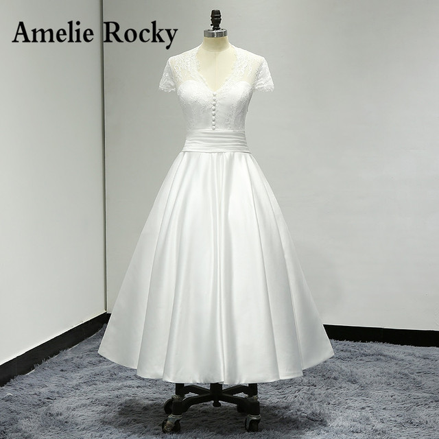 20c27ac6d6c2 Cap Sleeve Tea Length Wedding Dresses 2019 Sheer Back Satin Short Wedding  Dress Bridal Gowns Vestido De Casamento