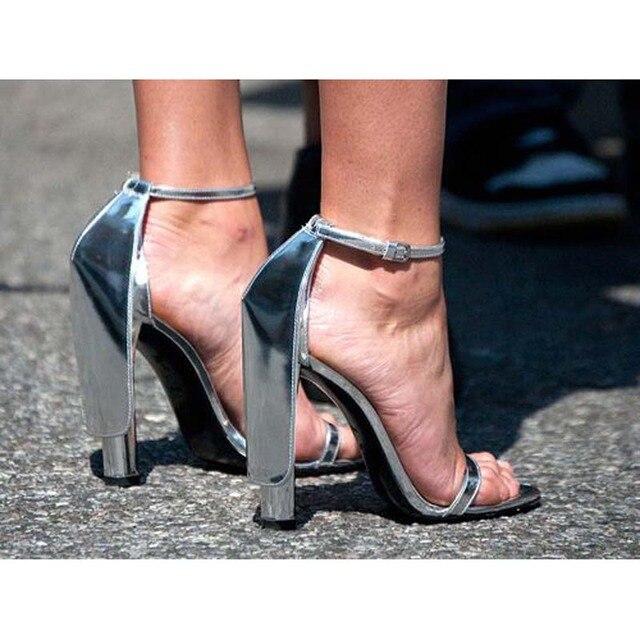 Sexy Silver Strappy Gladiator High Heels Women Sandals Fashion