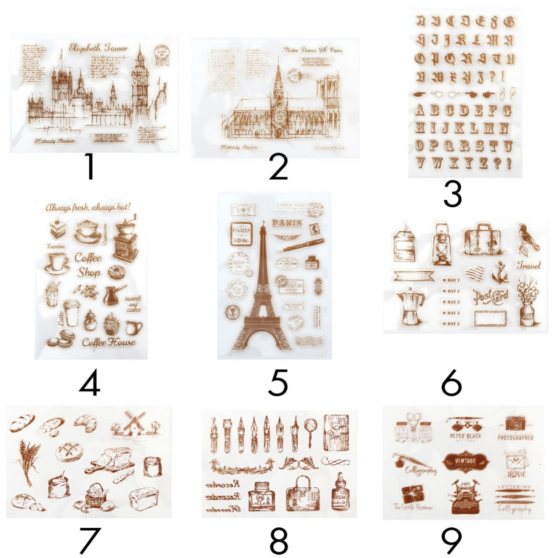 DIY Stamp Eiffel Tower Building Transparent Silicone Scrapbooking Die Cut Retro Clear Rubber Stamp Sheet Cling Scrapbooking series s 3d puzzle paper diy papercraft double decker bus eiffel tower titanic tower bridge empire state building