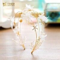 Fashion Gold White Crown Bridal Hairband Wedding Tiara Crystal Floral Hairwear Sweet Bride Headpiece Wedding Accessory