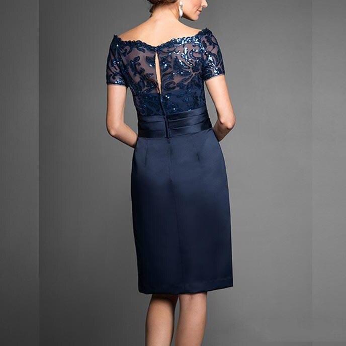 2019 Navy Blue Elegant Sequin Lace Knee Length Mother Of The Bride Dress Short Sleeve Vestido Mae Da Noiva