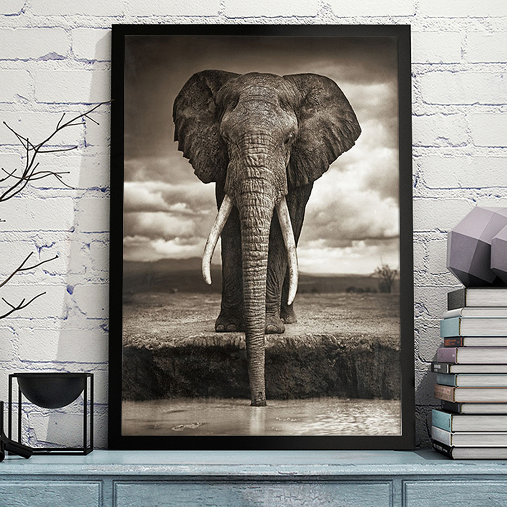Online Buy Wholesale black and white elephant painting ...