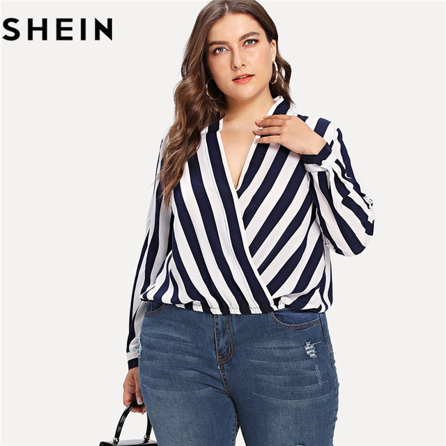 5cb27dfda98 SHEIN Striped Long Sleeve V Neck Plus Size Women Blouse 2018 New Office  Lady Spring Fall